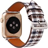 MeShow TCSHOW For Apple Watch Band Series 3 38mm,38mm Tartan Plaid Style Replacement Strap Wrist Band with Metal Adapter for Apple Watch Series 3 2 1