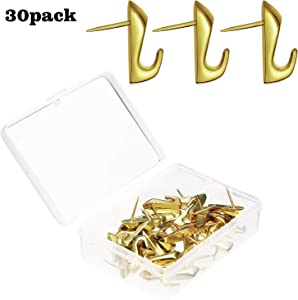 30 Pieces Pin Hooks Push Pin Hangers, 20 lbs Push Pin Hanger, Picture Hanging Nails for Home Office Fabric Wall Wooden (Gold High-Heeled Style)