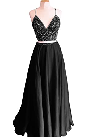 Dymaisei Womens V Neck Beaded Prom Dresses 2018 Two Pieces Long Formal Party Dresses US2
