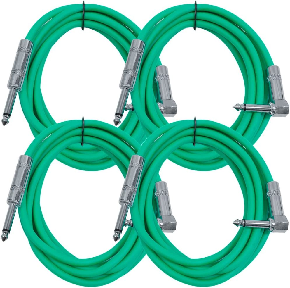 "10/' Green Guitar Cable TS 1//4/"" to Right Angle Instrument Cord Seismic Audio"