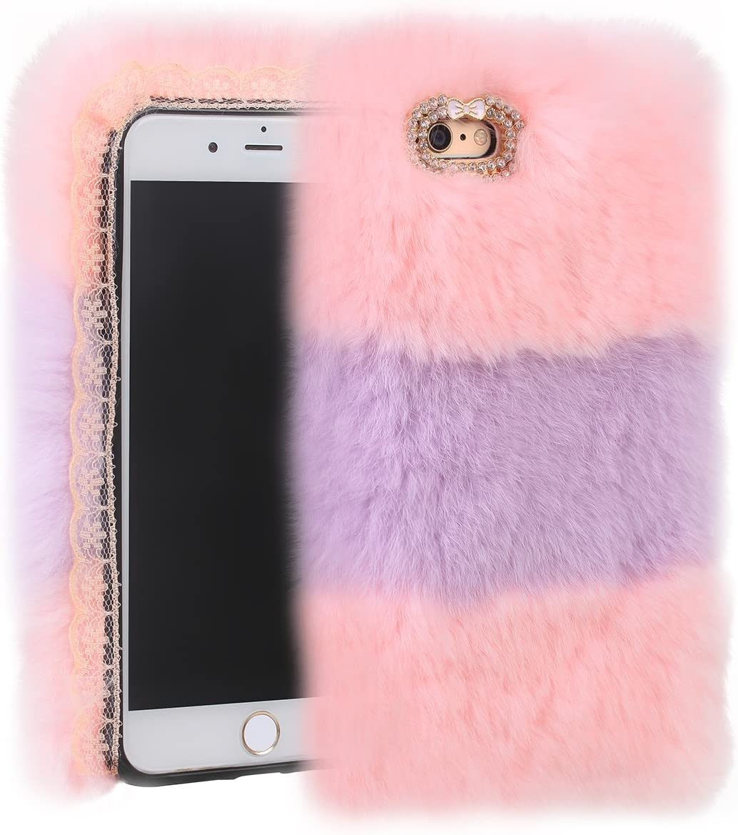Cfrau Furry Case with Black Stylus for iPhone 6 Plus//6S Plus 5.5 inch,Winter Warmed Fashion Faux Rabbit Bunny Fur Fluffy Plush Soft Case with Cute 3D Crystal Bowknot,Gray