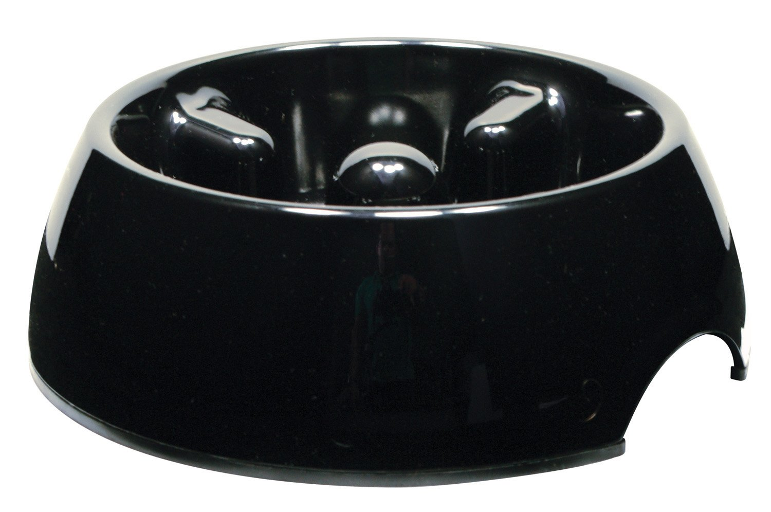 Dogit Go Slow Anti-Gulping Dog Dish, Slow Feeding Dog Bowl Suitable for Wet or Dry Food, X-Small, Black