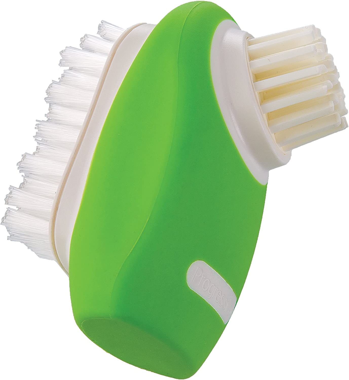 Prepworks by Progressive Dual Bristle Produce Brush, Perfect for Cleaning Potato's, Carrots, Cucumbers, Zucchini, Mushrooms, Silicone Soft Bristles, Stiff Nylon