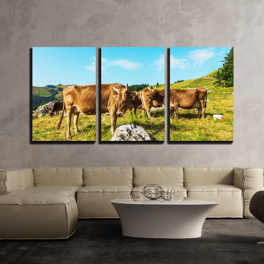 Wall26 3 piece canvas wall art cows grazing in a typical alpine landscape modern home decor stretched and framed ready to hang 24x36x3 panels