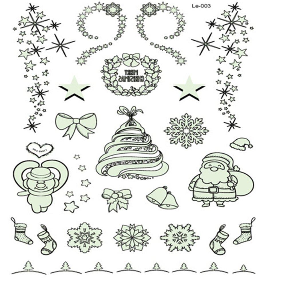 Kingus de No/ël lumineux Glowing temporaire Faux Tatouage Stickers Halloween Environnementale /étanche D/écoration de f/ête pour enfants filles gar/çons
