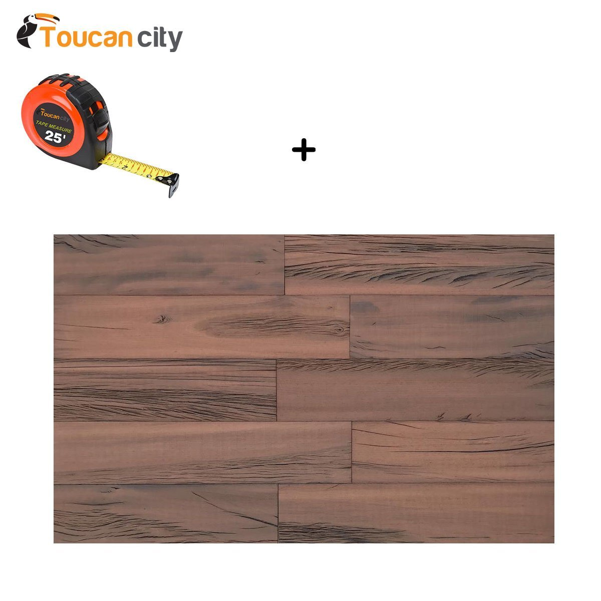 Toucan City Tape Measure and 3D Holey Wood 50 in. 1/4 in. x 4 in. x 24 in. Reclaimed Wood Decorative Wall Planks in Brown Color (10 sq. ft. / Case) 11133