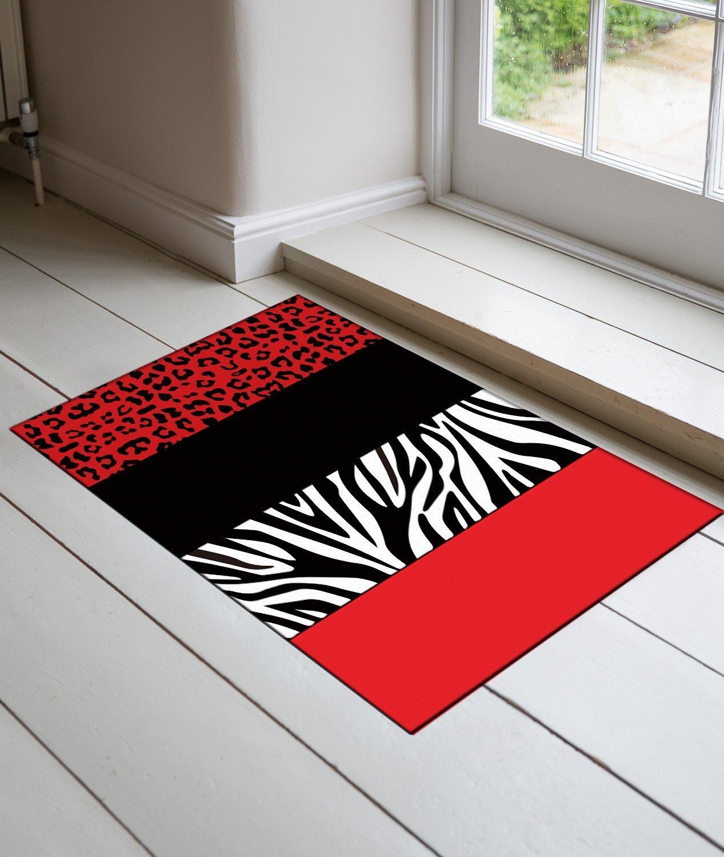DaringOne Red Leopard And Zebra Animal Print DOORMAT Entry Way Home Decor doormat 15.7x 23.6inch