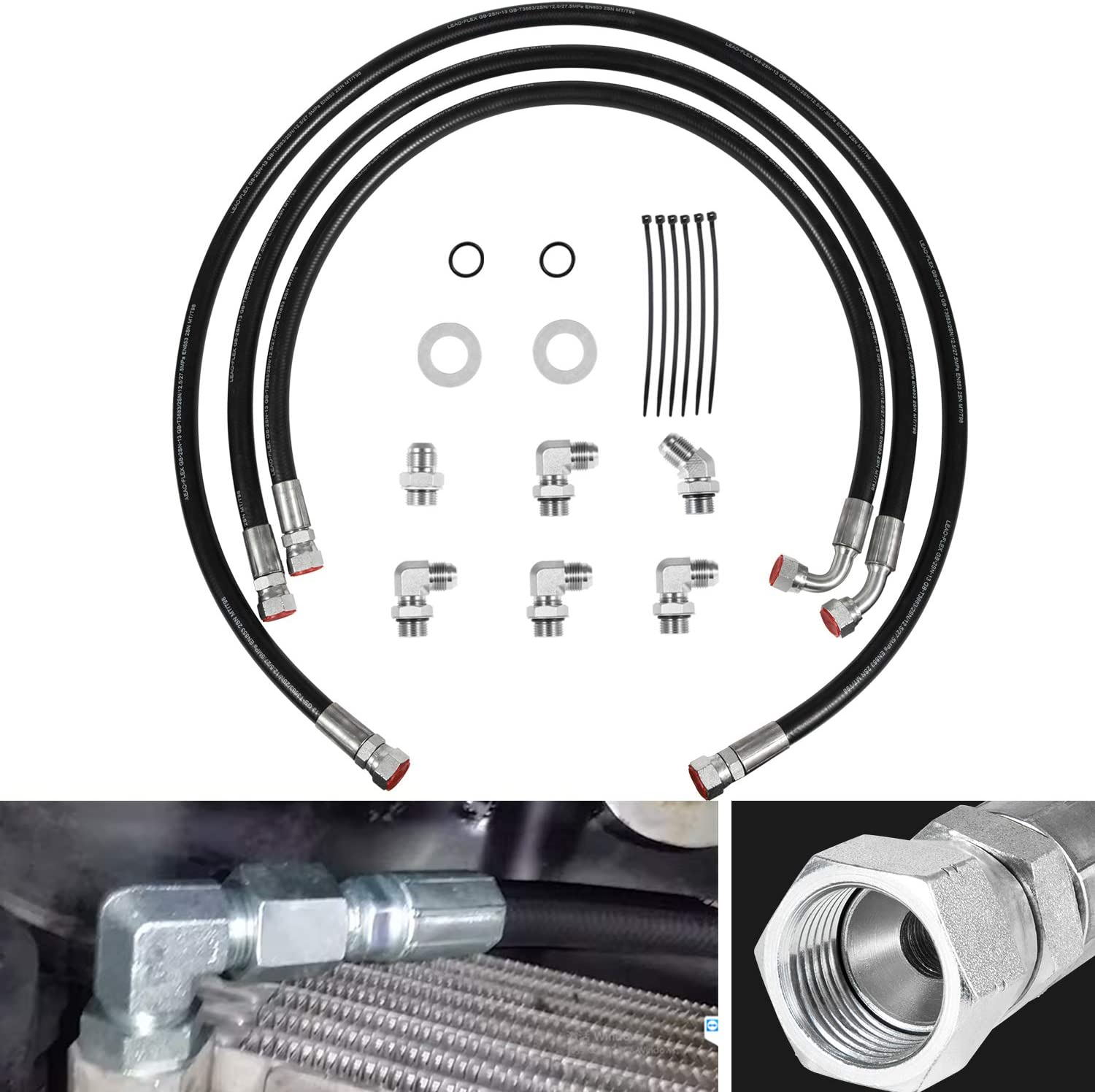 Transmission Cooler Hoses Lines With Fittings Adapters For 2006-2010 Chevy GM GMC 6.6L Duramax w/Allison Transmission Lines Repair