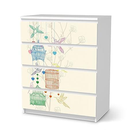 Cassettiera Malm Ikea 4 Cassetti.Mobili Adesivo Ikea Malm 4 Cassetti Design Adesivi Bird Cage