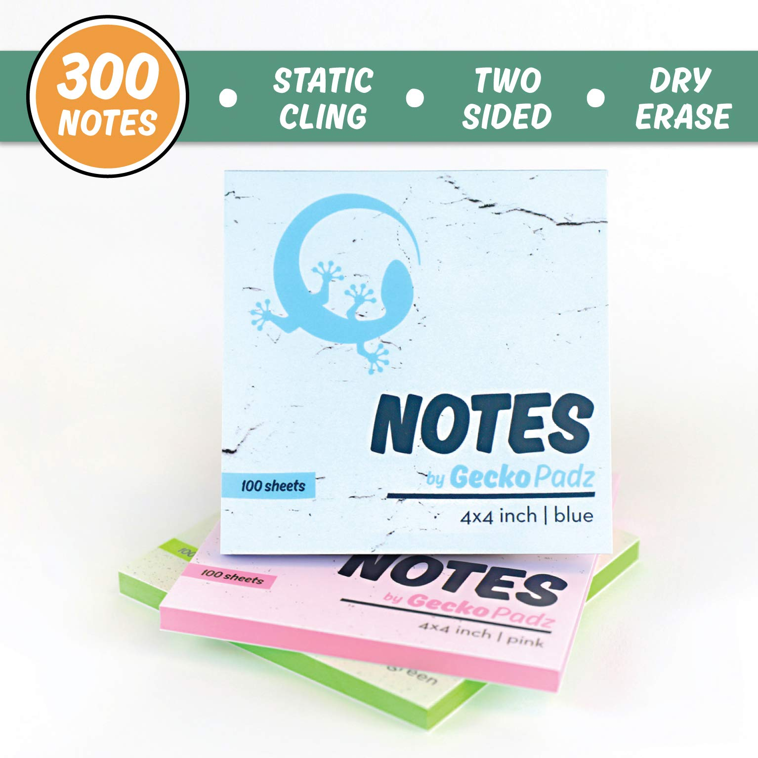 GeckoPadz Static Charged Dry Erase Sticky Notes | Magnetic Self Stick to Any Surface | NO Adhesive Residue | Static Cling Lasts Longer Than Post Its | 3-Pack, 300 Dry-Erase Surface Sheets | 4x4 Inch