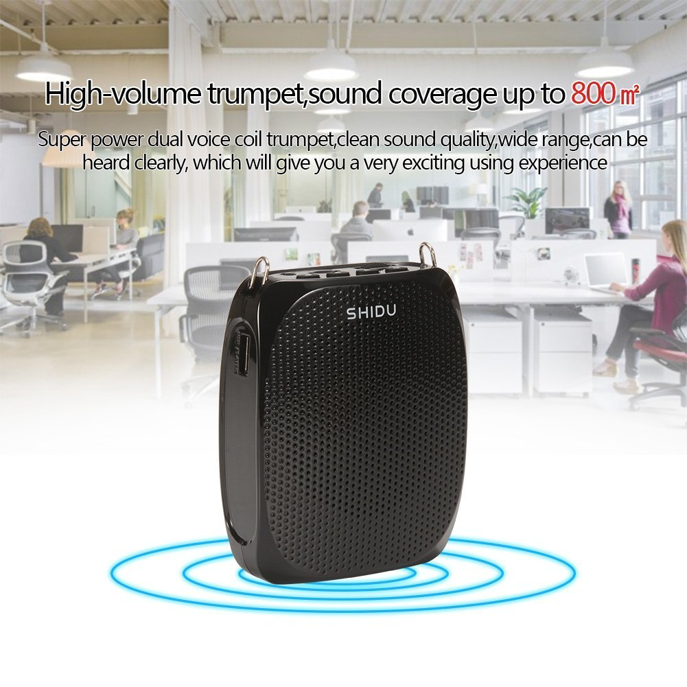 Portable Voice Amplifier Pa system loud speaker with 1800mAh Rechargable Lithium Battery , Wired headset Microphone Waist Support Suitable for Tour Guides, Teachers, Coaches, Presentations, Costumes by SHIDU (Image #5)