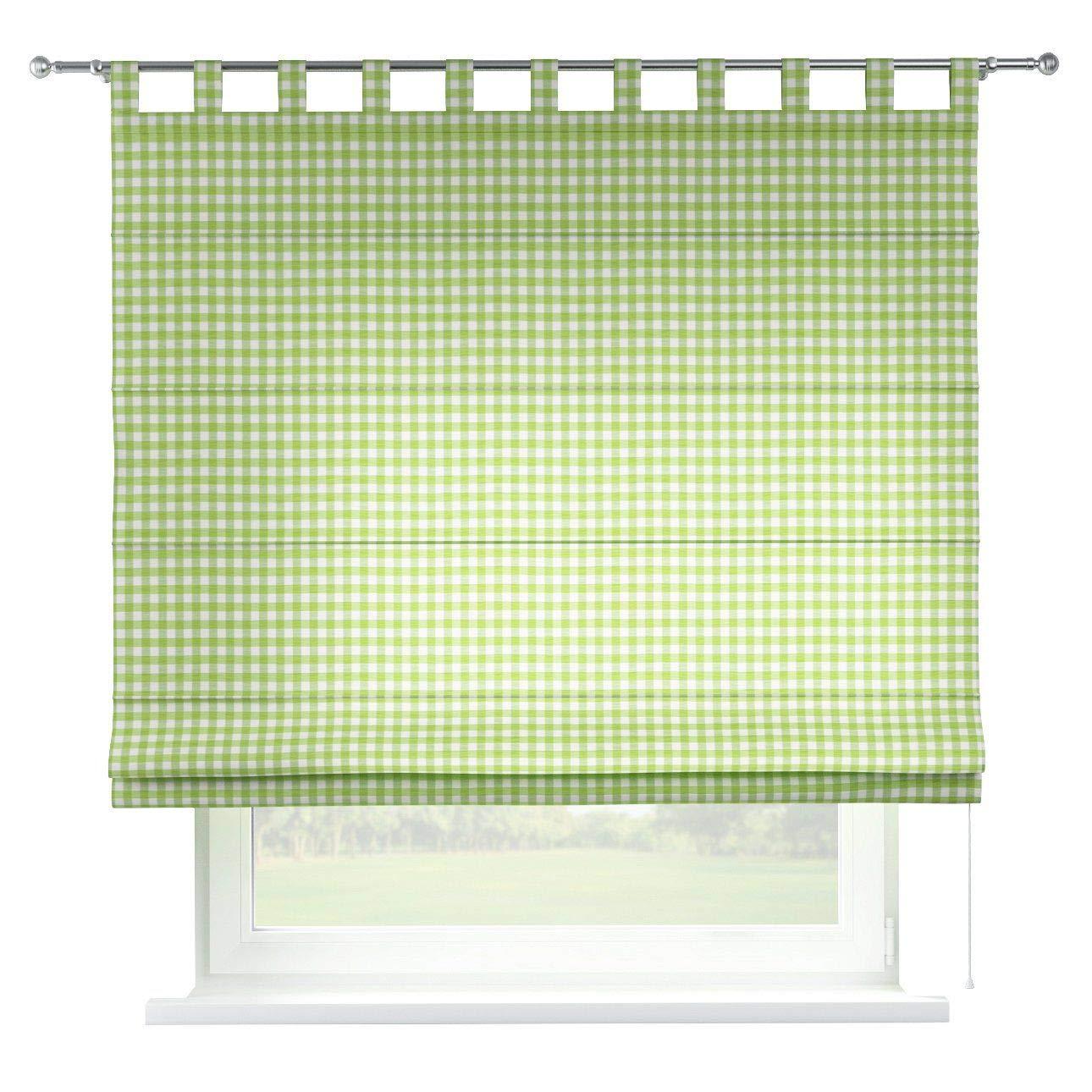 Dekoria Raffrollo Verona ohne Bohren Blickdicht Faltvorhang Raffgardine Wohnzimmer Schlafzimmer Kinderzimmer 160 × 170 cm Weiss-grün kariert Raffrollos auf Maß maßanfertigung möglich