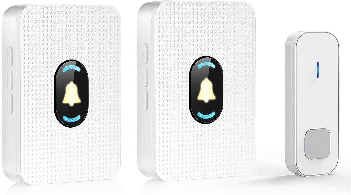 52 M/élodies Volume 4-Niveaux Sonnette Sans Fil Techole 300M Carillon avec 1 R/écepteur Enfichable et 1 Bouton-Poussoir et Flash LED Etanche IP55
