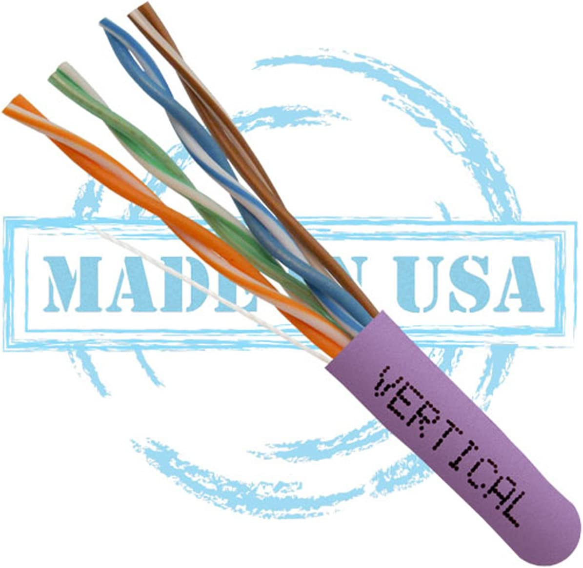 Vertical Cable CAT5E Plenum 24AWG 350 MHz 1000ft 8C Solid Bare Copper UTP Bulk Ethernet Cable Made in USA Purple