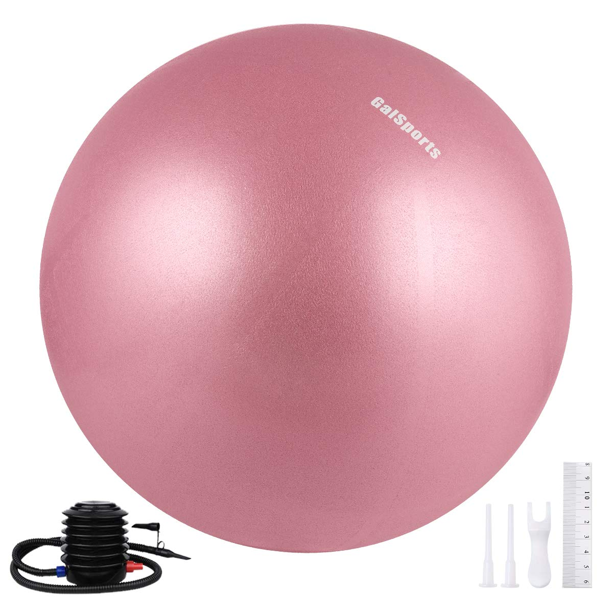 Galsports Yoga Stability Ball (Multiple Colors) for Balance, Exercise Ball for Fitness & Birthing, Anti-Burst Stability Ball with Quick Pump for Ball Chair, Core Strength (Dusty Rose, L (58-65cm))