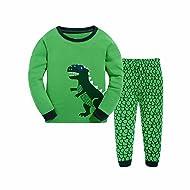 Tkala Boys Pajamas Children Clothes Set Dinosaur 100% Cotton Little Kids Pjs Sleepwear Green