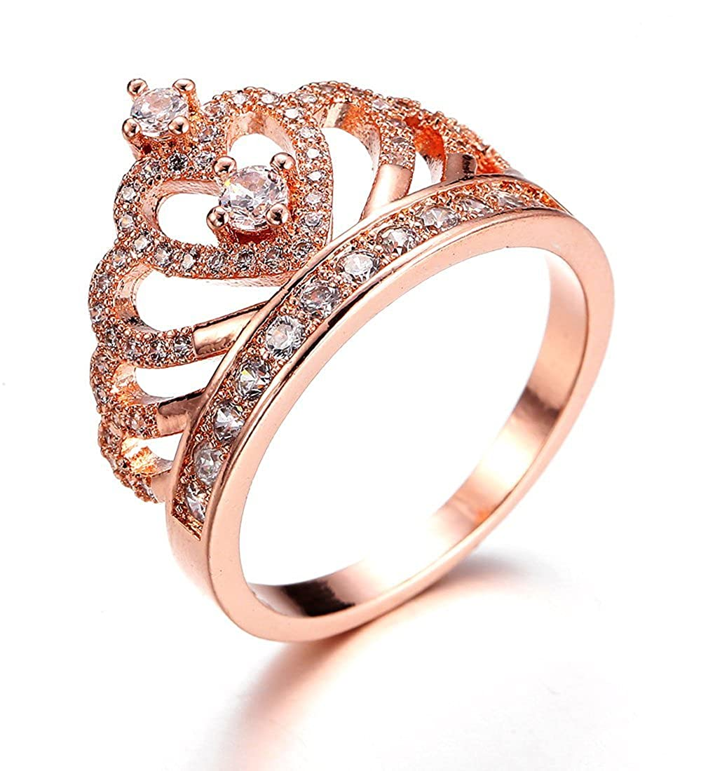 4c4fc2e56 Borong Women Ring Crown Jewelry Princess Heart Tiara Design with Rose Gold  Plated Cubic Zirconia for Engagement Wedding Gift | Amazon.com
