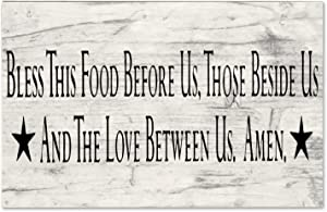 EricauBird Monsety Bless This Food Before Us Wood Sign, Kitchen Sign, Decorative Home Wall Art, Sign for Home Wedding Party Farmhouse, Housewarming Gift, 10x16x0.2, w1604