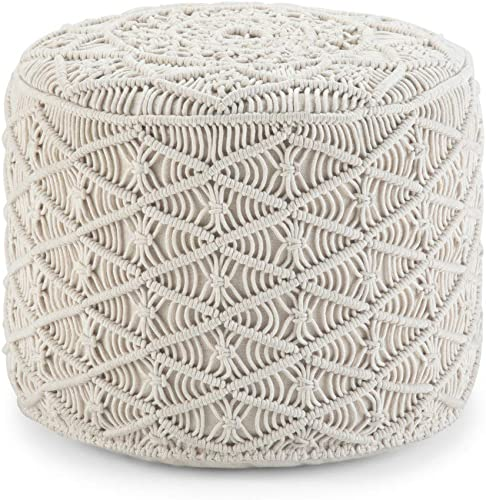Simpli Home Coates Round Macrame Pouf, Footstool, Upholstered in Natural Woven Cotton, for the Living Room, Bedroom and Kids Room, Boho, Contemporary, Modern