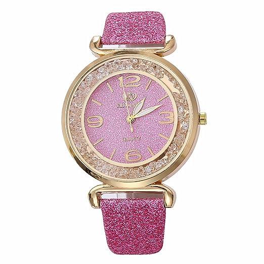 Gusspower Reloj de Pulsera Análogo clásico para Mujer de Cuarzo de Acero Inoxidable con Correa Cuero (Rosa): Amazon.es: Relojes