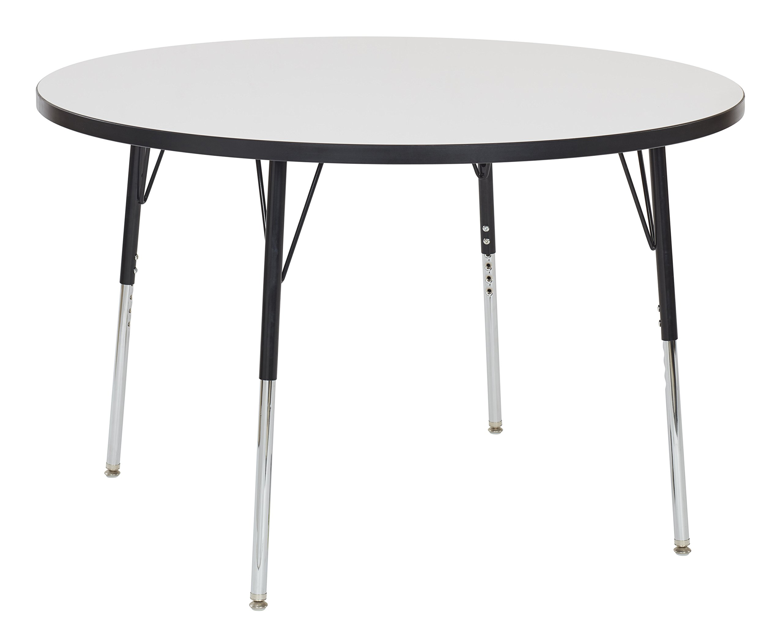 ECR4Kids Dry Erase 48'' Round Whiteboard School Activity Table, Standard Legs w/ Swivel Glides, Adjustable Height 19-30 inch (Black)
