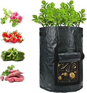 igingko 3-Pack Potato Grow Bags Green 5 Gallon, Sturdy PE Planting Pots Garden Containers Planters for Vegetables, with Handles, Drain Hole & Large Harvest Window