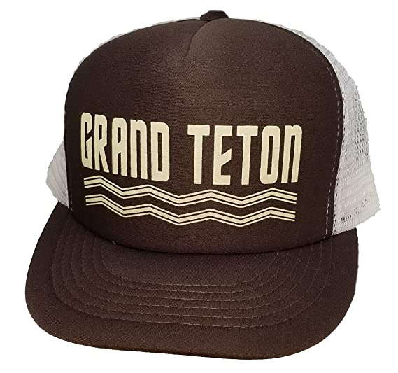 Image Unavailable. Image not available for. Color  Grand Teton Wyoming  Yellowstone Mesh Trucker Hat ... 8c27b00958bc