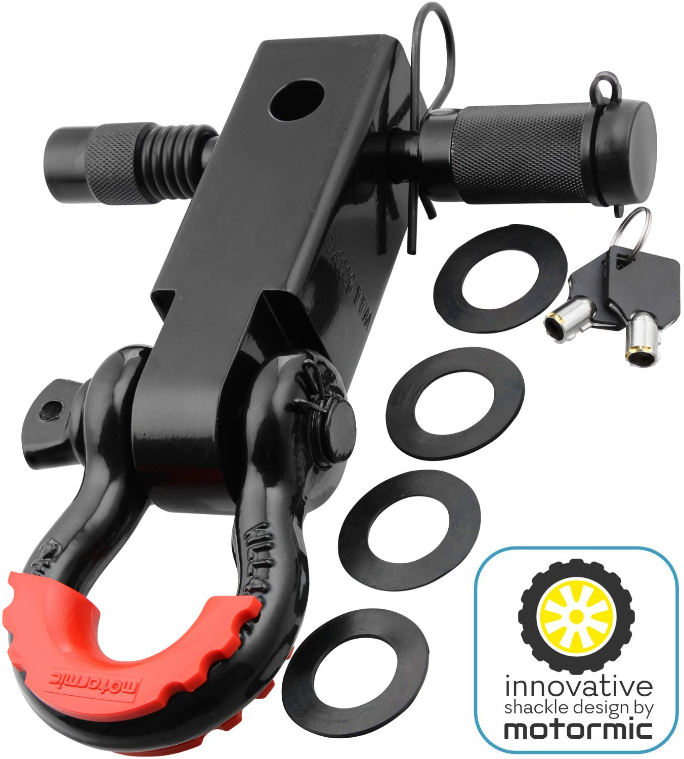Motormic Shackle Hitch Receiver 2 inch with 5/8' Trailer Lock Pin and 3/4' D Shackle (35,000 lbs Max Capacity) – Heavy Duty Off Road Recovery Black D Ring with 4 rubber washers and Red Isolator for Jeep, Truck, Pick up Motormic 1703