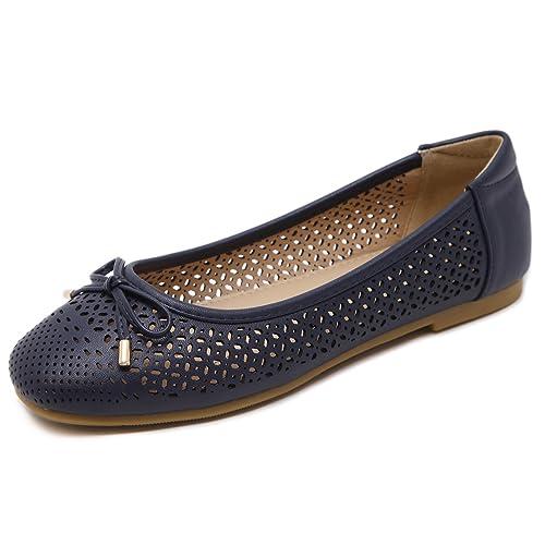 Suetar-SKT Mocasines Respirables Elegantes de la PU de Las Mujeres Zapatos Planos de Punta