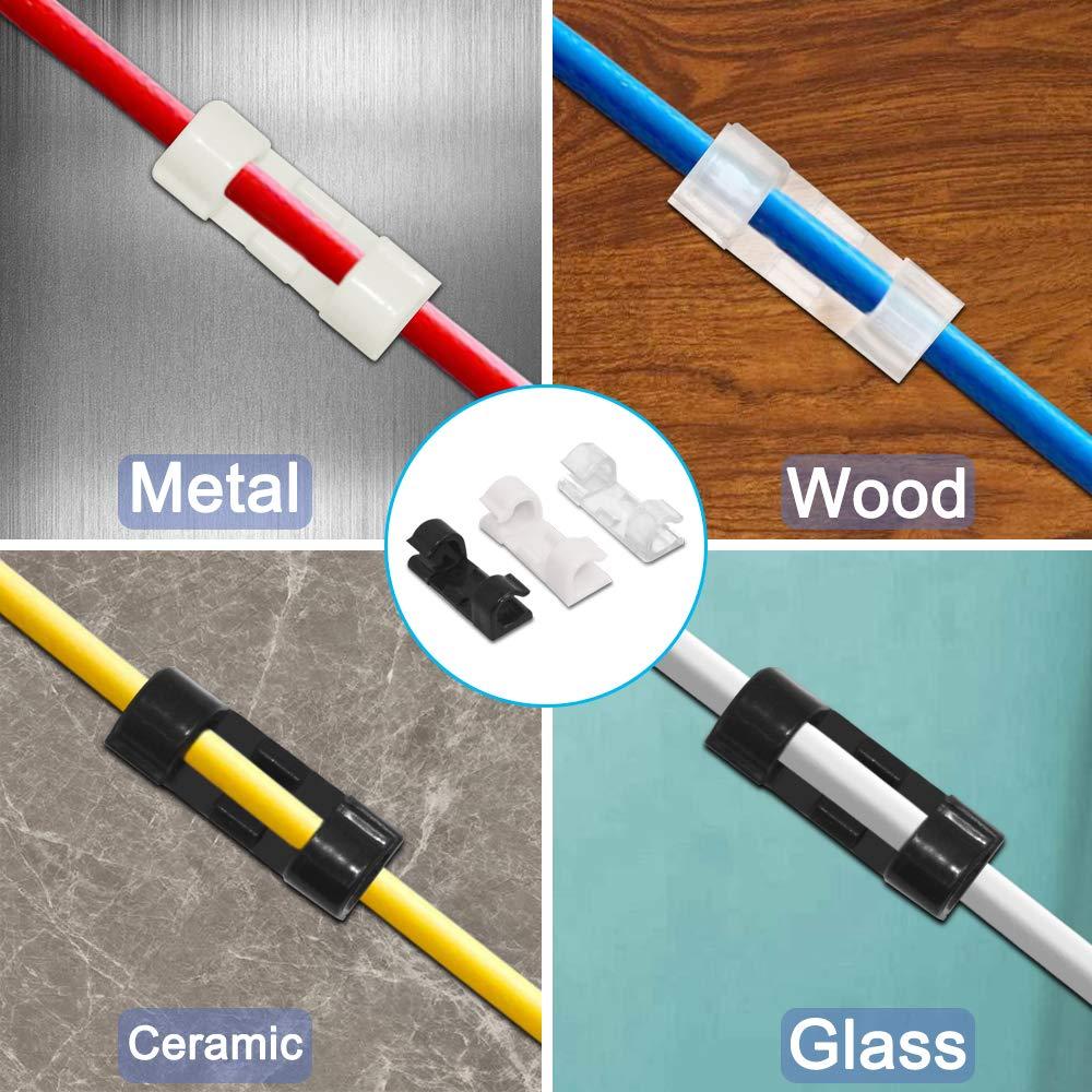 120 piezas de clips de cable de plástico con cinta adhesiva ...