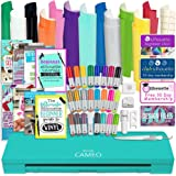 Silhouette Teal Cameo 3 Bluetooth Bundle with 12x12 Inch Oracal 651 Vinyl, 24 Sketch Pens, Guide Books, Online Class, and More