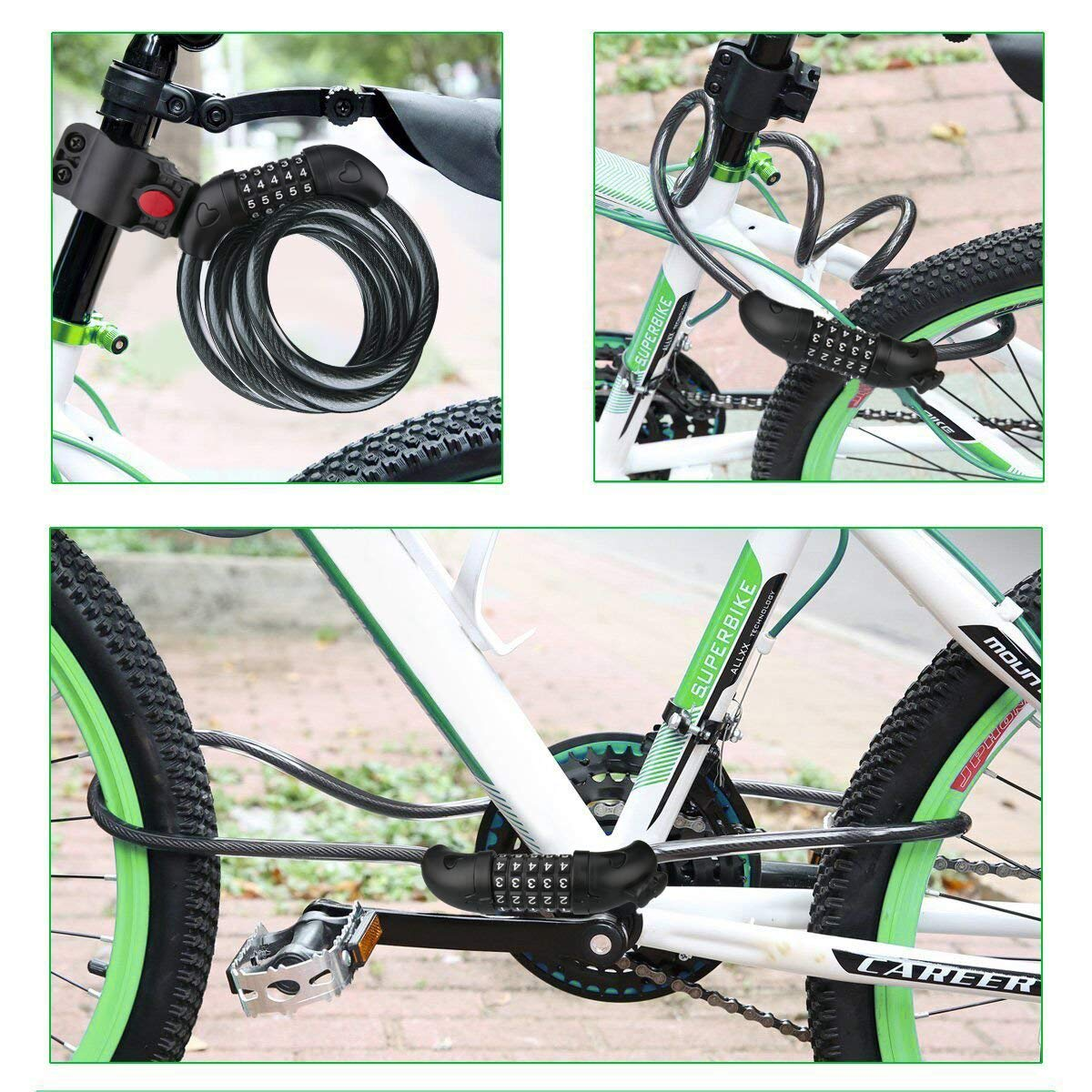 Bike Lock Cable Security Cable Combination Bicycle Lock Chain Lock 5-Digit Resettable Number Mounting Bracket Bicycle Scooter Outdoors Gvoo Bike Lock