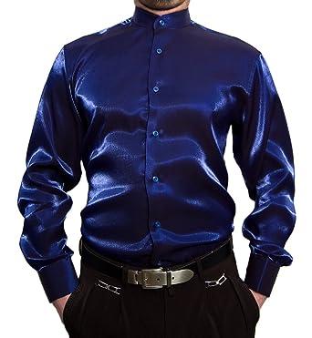 0d1d20ba932cf Designer Hombre Libre de Planchar Camisa de Cuello Alto Brillo Camisa para  Hombre Negro Blanco Rojo Azul Plata satén Look Brillo Camisa Cuello Alto  Camisa  ...