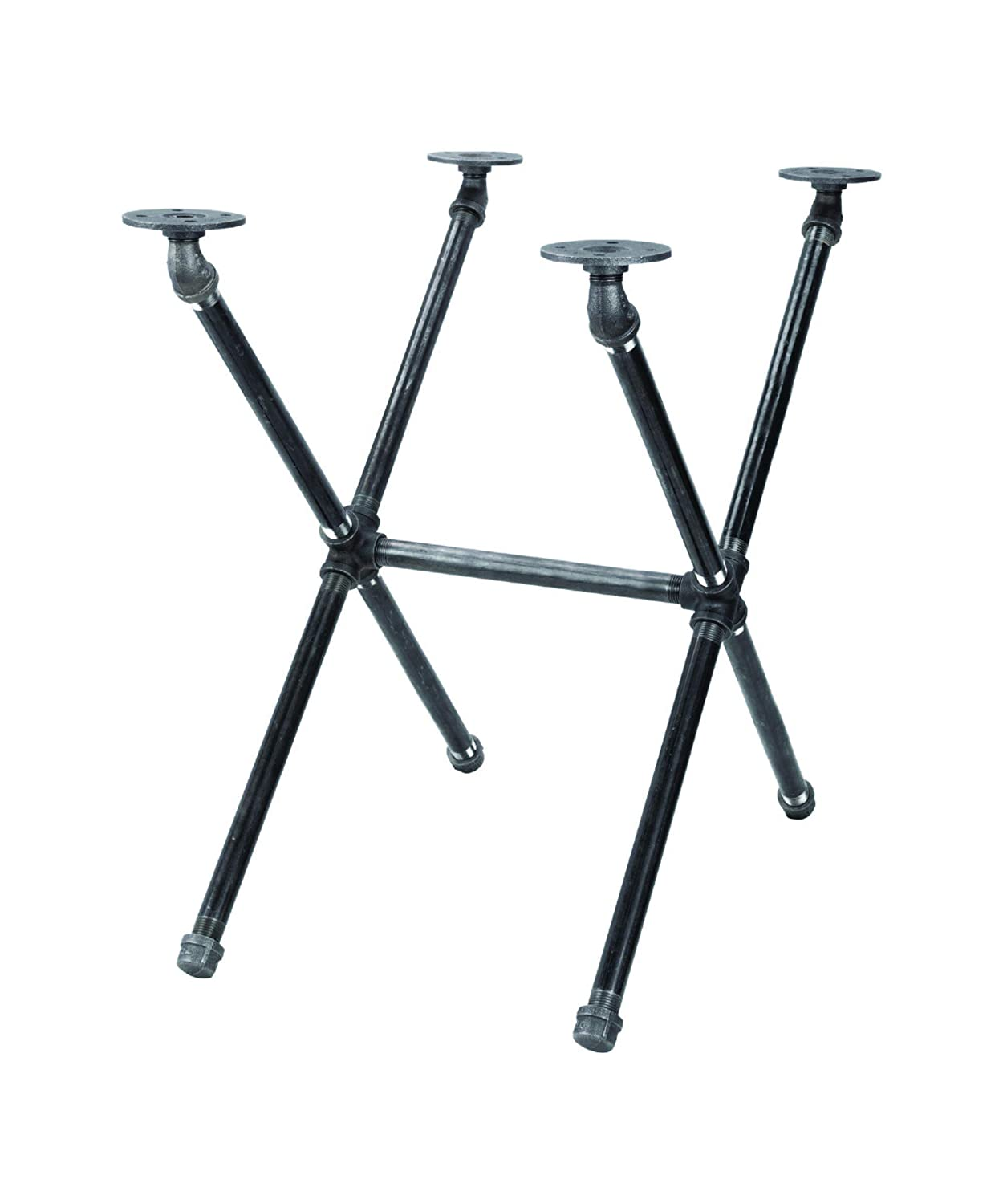 Industrial Pipe Decor Table Leg Set, Rustic End Table Side Table Base Kit, Dark Grey/Black Steel Metal Pipes Vintage Furniture Decorations DIY Coffee Table Legs Mid Century Modern, Crisscross Style