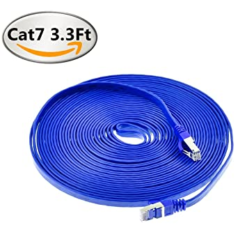 Red _ Cafe azul CAT7 blindado red RJ45 Cable de alta velocidad Ethernet LAN Cable para