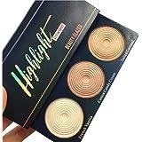 Weisy 3 Couleurs Palette de Maquillage Highlighter + Fard à Joues Contours Cosmétiques Maquillage Stéréo