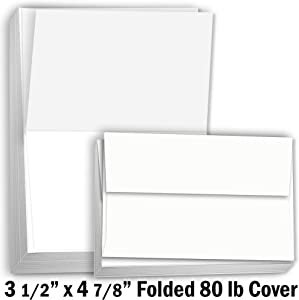 """Hamilco White Cardstock Thick Paper – 3 1/2 x 4 7/8"""" Blank Folded Small A1 Cards with Envelopes - Greeting RSVP Invitations Stationary - Heavy weight 80 lb Card Stock for Printer - 100 Pack"""