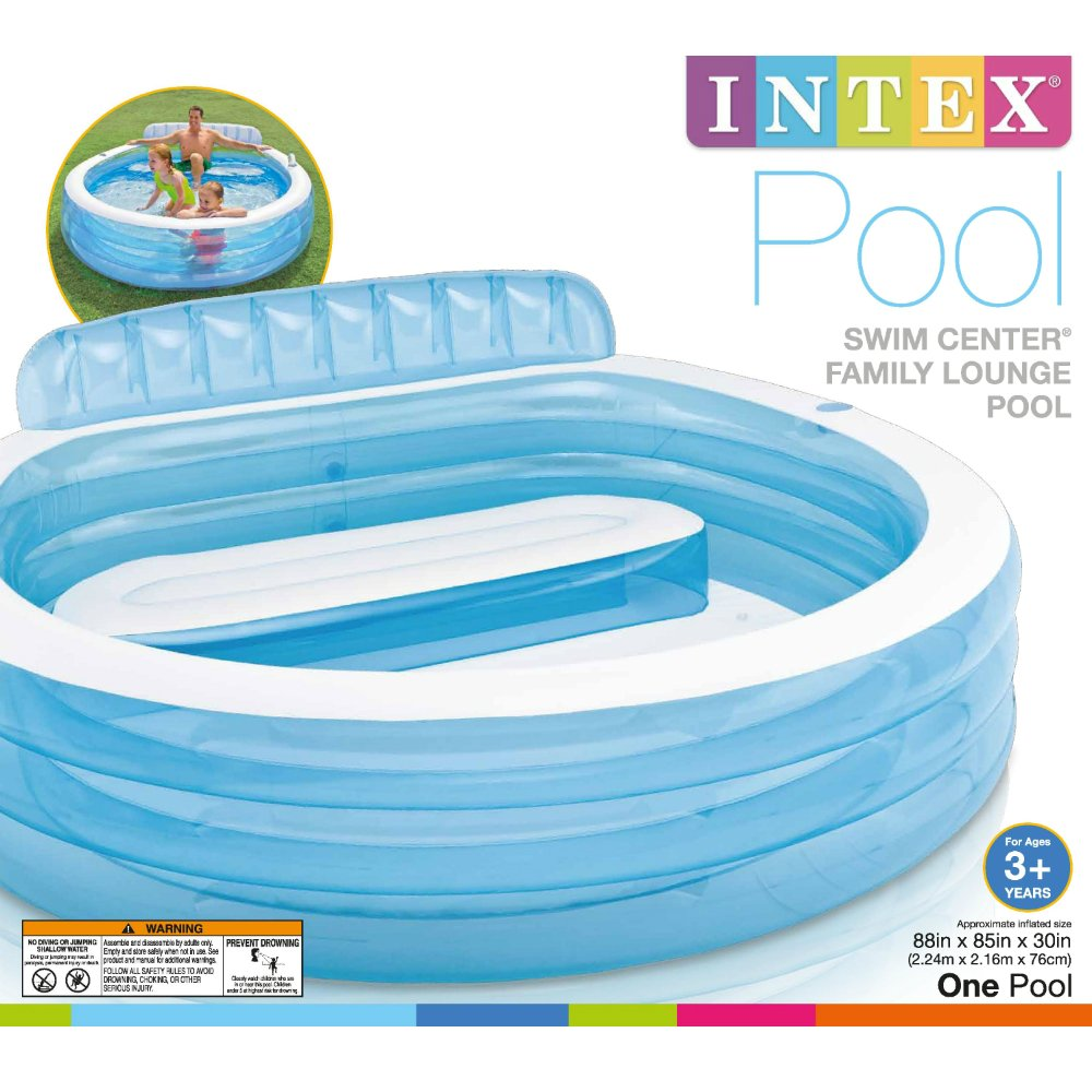 Intex Swim Center Inflatable Family Lounge Pool, 88in X 85in X 30in, for Ages 3+ by Intex (Image #3)