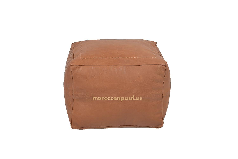 4887629a1e3 Moroccan Square Pouf Handmade Luxury Leather Cover tan handream ...