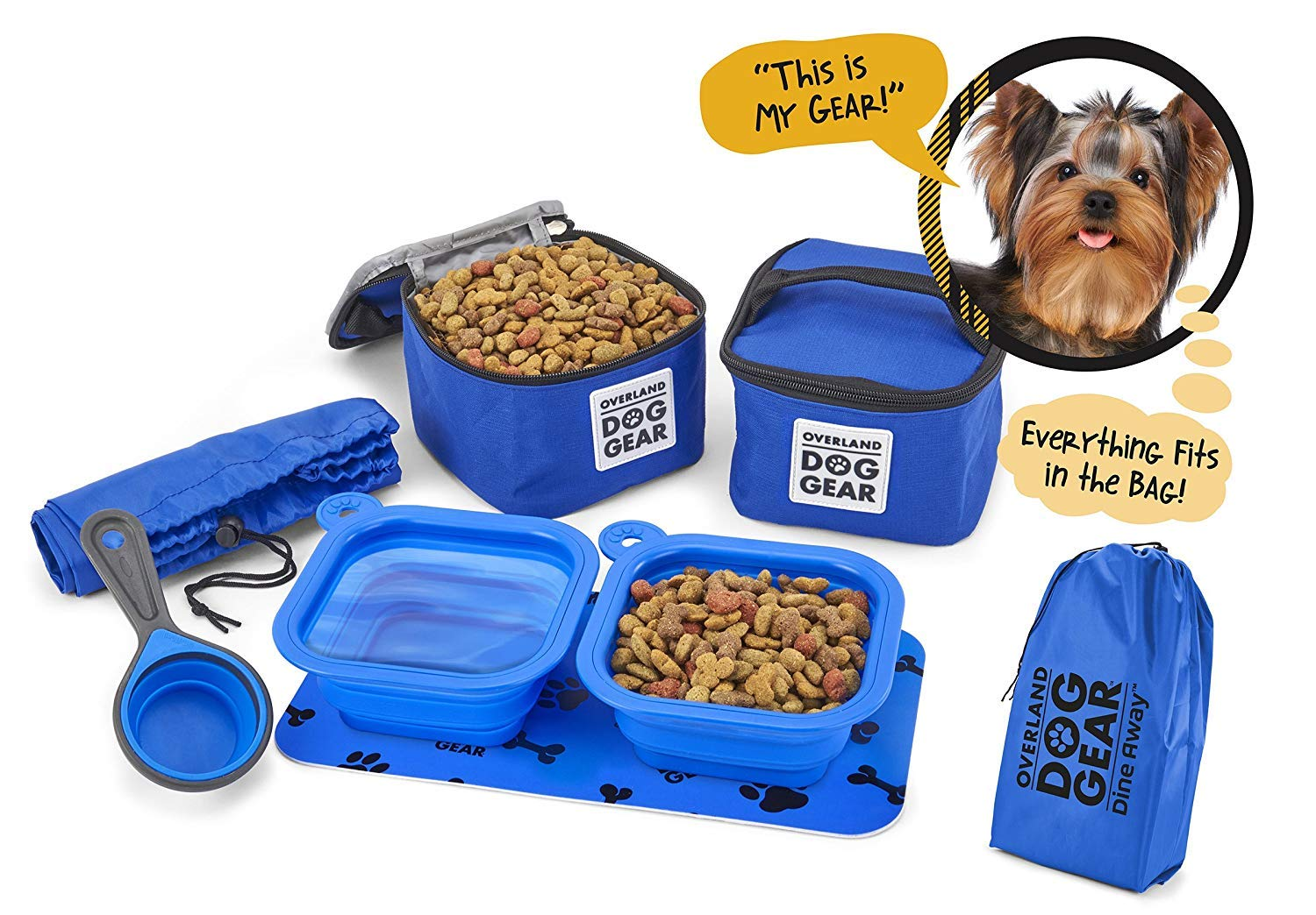 Dog Travel Food Set For Small Dogs (Blue) - 7pk Including Collapsible Bowls, Carriers, Scooper, Place Mat, Bag by Overland Dog Gear