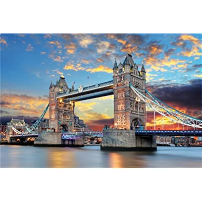 DDTOP 1000 Pieces Wooden Thames London Tower Bridge Jigsaw Puzzle,Wooden Multicolour Large Format Tower London Bridge Sunset Glow Night View Wall Decoration Architecture 1000 Pieces Puzzle: Toys & Games