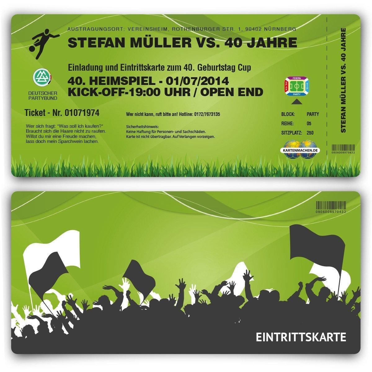 Einladungskarten (30 Stück) zum Geburtstag als Fussballticket ...