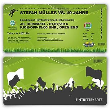 Einladungskarten 30 Stuck Zum Geburtstag Als Fussballticket Fussball Einladung