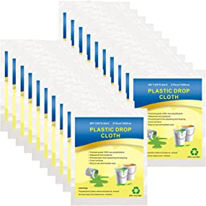 Plastic Drop Cloth, Multiple Waterproof Cloth Sheets for Painting, Dust-Proof and Rustproof, 20 Pieces 9x12 Feet Tarp, Furniture Cover