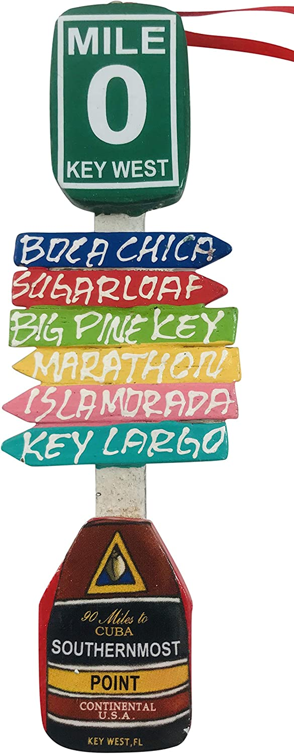 Key West Direction Sign Ornament Florida Keys Christmas Decoration Hand Painted Gift
