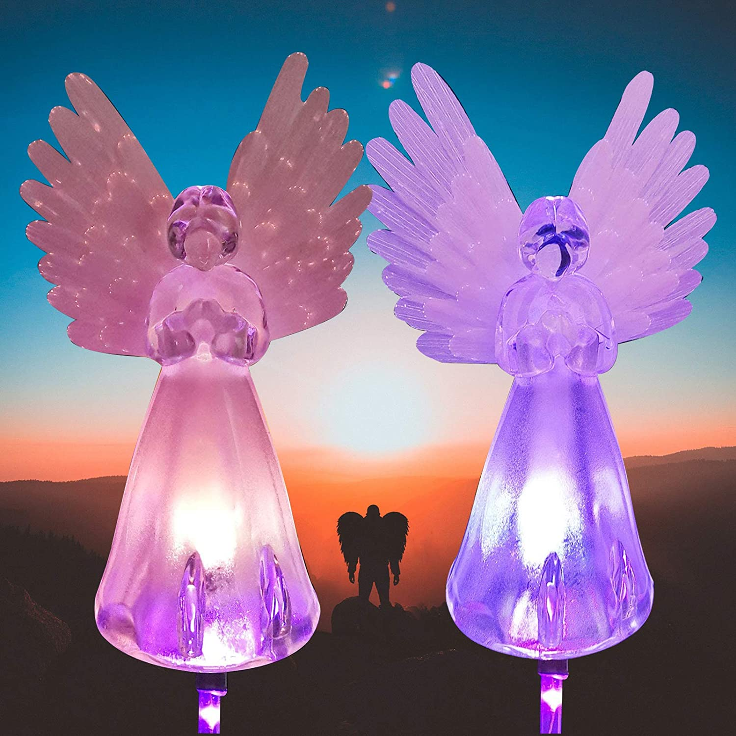 2 Pack Solar Angel Lights Outdoor, Garden Gifts for Housewarming Mom Women,Solar Powered Decorative Light for Garden Yard Patio, Grave Decorations for Cemetery
