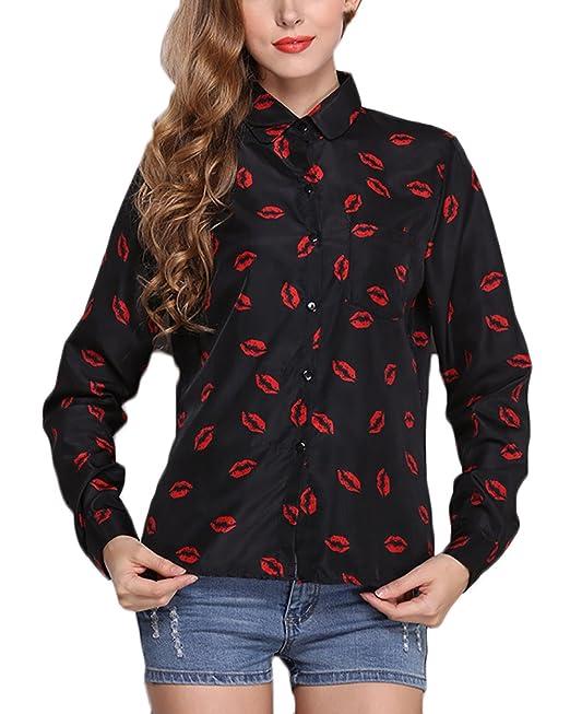 Camisas Mujer Elegantes Camisa De Gasa Manga Larga Cuello Solapa Un Solo Pecho Labios Impresión Blusas