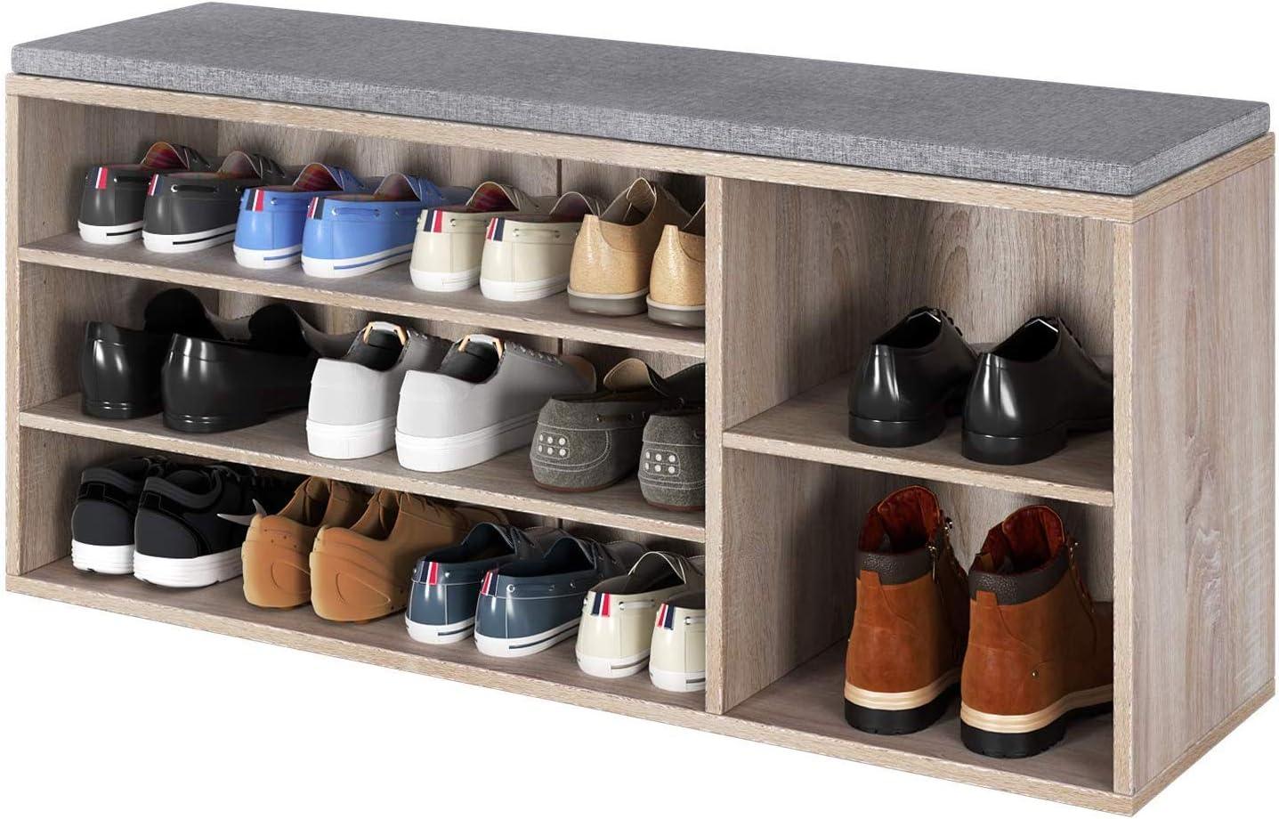 Homfa 3 Tier Shoe Storage Bench Shoe Racks Shoe Organizer with Cushion Seat Wooden Ottoman Shoe Cupboard for Home 105x30x48cm