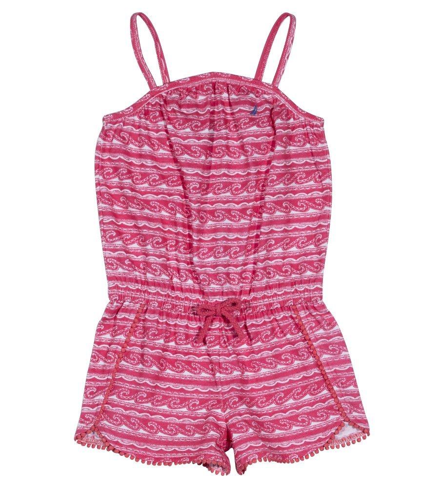Nautica Toddler Girls' Fashion Romper, Dark Pink Pom Pom, 3T