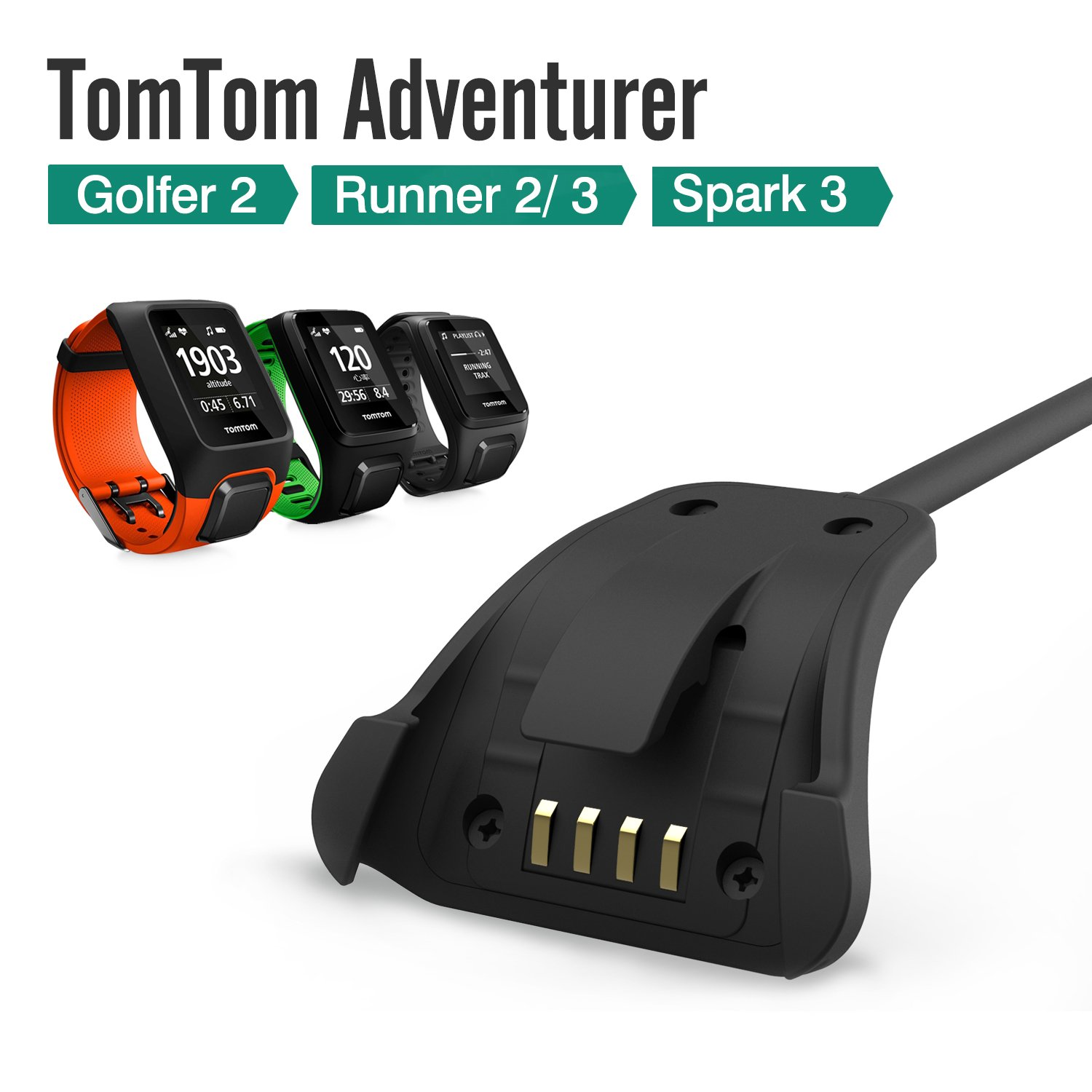MoKo Tomtom Adventurer Charger Dock, USB Data Sync Charge Cradle Dock Charger with 1M Charging Cable for Tomtom Adventurer/ Golfer2/ Spark3/ Runner2/ ...